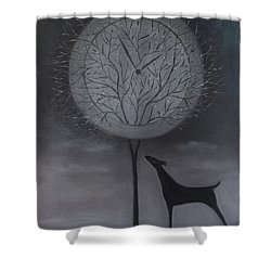 Shower Curtain featuring the painting Passing Time by Tone Aanderaa