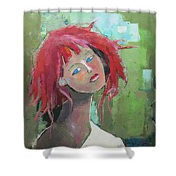 Shower Curtain featuring the painting Passion by Becky Kim