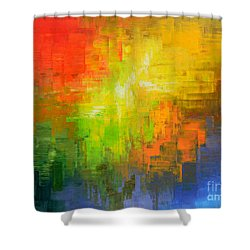 Shower Curtain featuring the painting Passionate Plumage by Tatiana Iliina