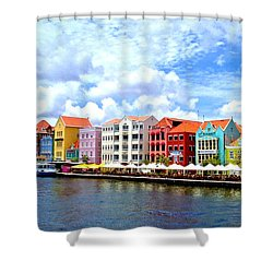 Pastel Building Coastline Of Caribbean Shower Curtain