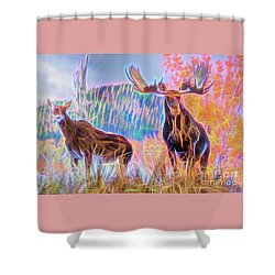 Pastel Moose Couple Shower Curtain