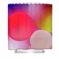 Shower Curtain featuring the photograph Pastel Oil Bubble Water Drops by John Williams