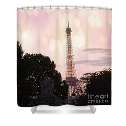 Shower Curtain featuring the photograph Pastel Paris Eiffel Tower Sunset Bokeh Lights - Romantic Eiffel Tower Pink Pastel Home Decor by Kathy Fornal