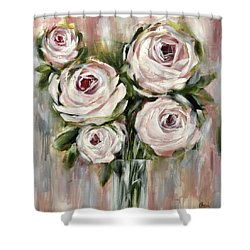 Pastel Pink Roses Shower Curtain
