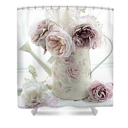 Shower Curtain featuring the photograph Pastel Romantic Shabby Chic Pink Flowers In Watering Can - Romantic Cottage Floral Home Decor  by Kathy Fornal