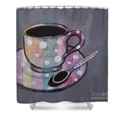 Shower Curtain featuring the painting Pastel Stripes Polka Dotted Coffee Cup by Robin Maria Pedrero