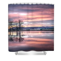 Pastel Sunrise Shower Curtain by Fiskr Larsen