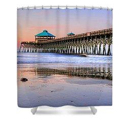 Pastel Sunrise On Folly Beach Pier In Charleston South Carolina Shower Curtain