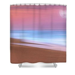 Pastel Sunset And Moonrise Over Hutchinson Island Beach, Florida. Shower Curtain
