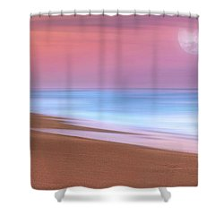 Pastel Sunset And Moonrise Over Hutchinson Island Beach, Florida. Shower Curtain by Justin Kelefas