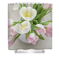Shower Curtain featuring the photograph Pastel Tulips by Kim Hojnacki