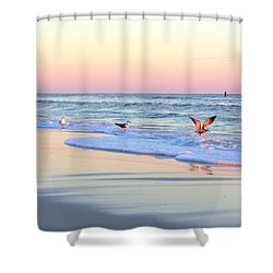 Pastels On Water Shower Curtain by Faith Williams