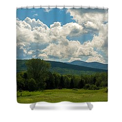 Pastoral Landscape With Mountains Shower Curtain by Nancy De Flon