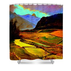 Pasture In The Mountains Shower Curtain