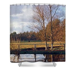 Pasture Pond Shower Curtain by Laurie Stewart