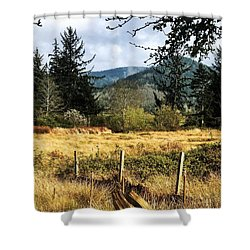 Shower Curtain featuring the photograph Pasture, Trees, Mountains Sky by Chriss Pagani