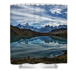 Patagonia Lake Reflection - Chile Shower Curtain
