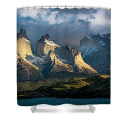 Patagonian Sunrise Shower Curtain by Andrew Matwijec