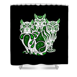 Patches, Stripes, And Bobbles In Green Shower Curtain