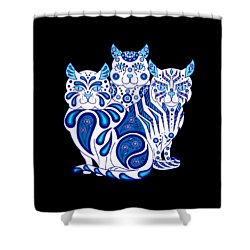 Patches, Stripes, And Bobbles Shower Curtain