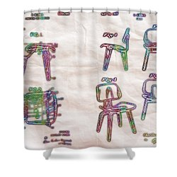 Patent Eames Chair Drawing Neon Print Poster Shower Curtain