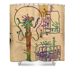 Patent Gibson Guitar Drawing Poster Print Shower Curtain