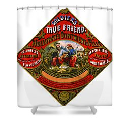 Shower Curtain featuring the photograph Patent Medicine Label 1862 by Padre Art