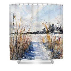 Path Shadows In The Way Back Shower Curtain by Judith Levins