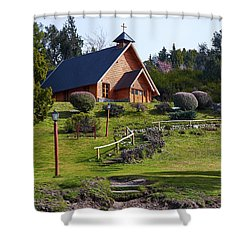 Rustic Church In The Argentine Patagonia Shower Curtain