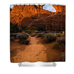 Shower Curtain featuring the photograph Path To Skyline Arch At Sunset - Utah  by Gary Whitton