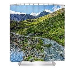 Shower Curtain featuring the photograph Path To Snowdon by Ian Mitchell
