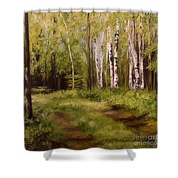 Shower Curtain featuring the painting Path To The Birches by Laurie Rohner