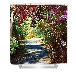 Shower Curtain featuring the digital art Path To The Gardens by Donna Bentley