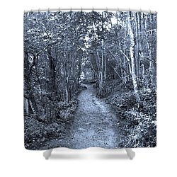Path Trough The Blue Wood Shower Curtain