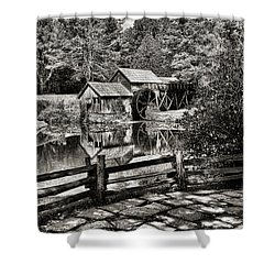 Pathway To Marby Mill In Black And White Shower Curtain by Paul Ward