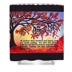 Shower Curtain featuring the painting Patient Autumn Tree by Sonya Nancy Capling-Bacle