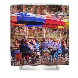 Patio At The Riverwalk Shower Curtain