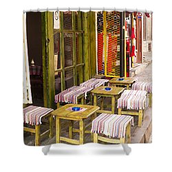 Patio In The Bazaar Shower Curtain by Rae Tucker