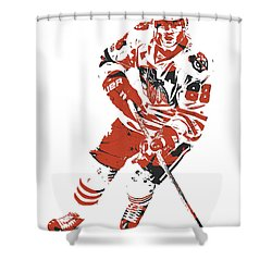 Patrick Kane Chicago Blackhawks Pixel Art 1 Shower Curtain