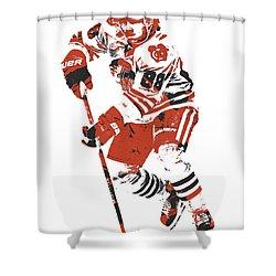 Patrick Kane Chicago Blackhawks Pixel Art 4 Shower Curtain