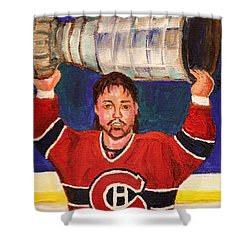 Patrick Roy Wins The Stanley Cup Shower Curtain by Carole Spandau