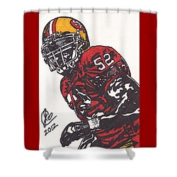 Shower Curtain featuring the drawing Patrick Willis by Jeremiah Colley