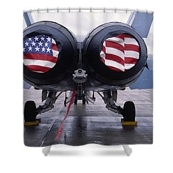 Patriotic American Flag Covers On The Rear Of An American F/a-18 Hornet Fighter Combat Jet Aircraft. Shower Curtain