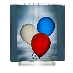 Shower Curtain featuring the photograph Patriotic Balloons by Carolyn Marshall