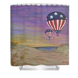 Patriotic Balloons Shower Curtain by Debbie Baker