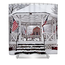 Patriotic Bandstand Shower Curtain by Susan Cole Kelly