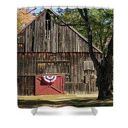 Shower Curtain featuring the photograph Patriotic Barn by Nancy De Flon