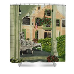 Patriotic Country Porch Shower Curtain by Charlotte Blanchard