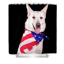 Patriotic Dog Shower Curtain by Stephanie Hayes