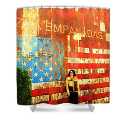 Patriotic Empanadas Wall In New York  Shower Curtain by Funkpix Photo Hunter